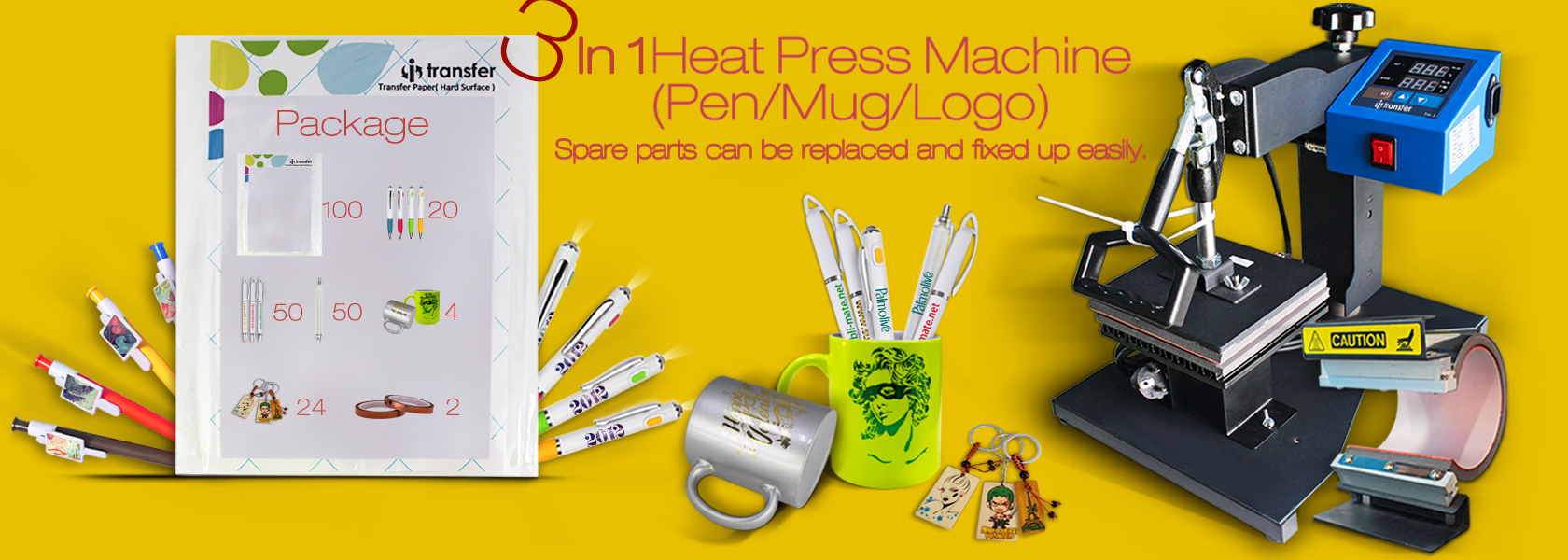 I-transfer 3 in 1 pen heat press printing machine package